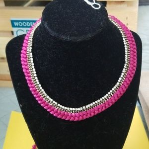 Pink braided chocker necklace Chloe and isabel